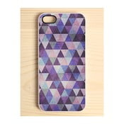 Obal na iPhone 4/4S, Triangle Print blue & purple hues, bílý