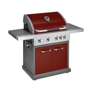 Červený plynový gril se 4 samostatně ovladatelnými hořáky, teploměrem a bočním ohřívačem Jamie Oliver Pro