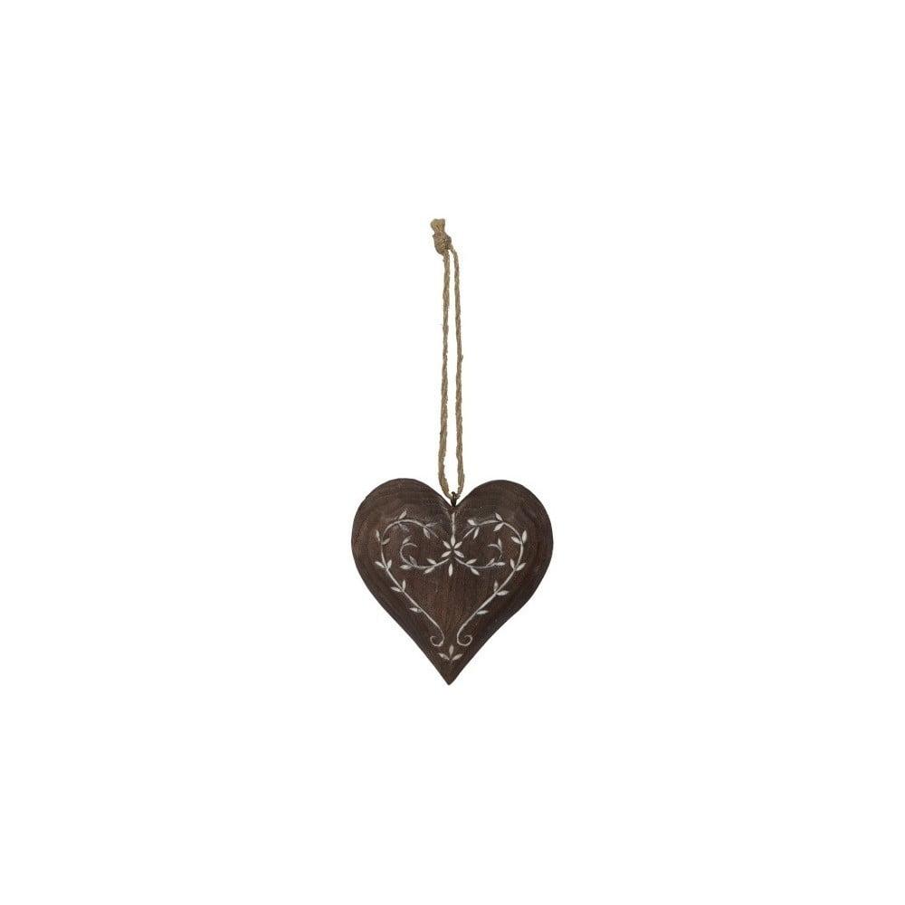 Dřevěná závěsná dekorace ve tvaru srdce AnticLine Rose