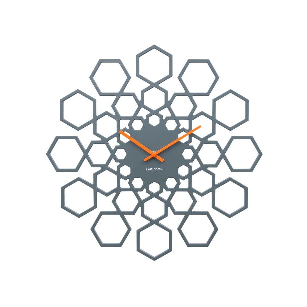 Tmavě šedé nástěnné hodiny Karlsson Sunshine Hexagon