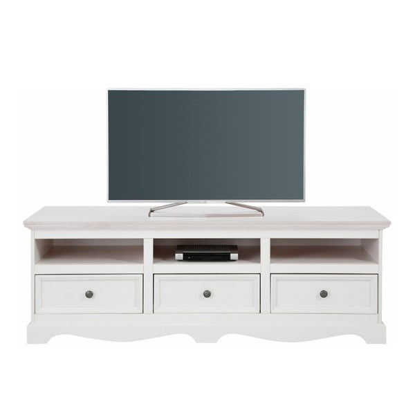 Biała szafka pod TV z litego drewna sosnowego Støraa Monty, szer.163cm