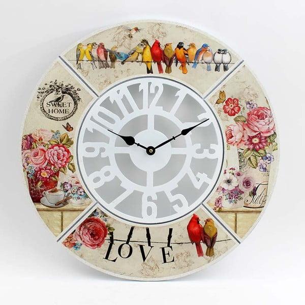 Dřevěné hodiny Birds and Roses