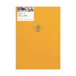Žlutý poznámkový blok se sadou lepících papírků Portico Designs Bee, 60 stránek