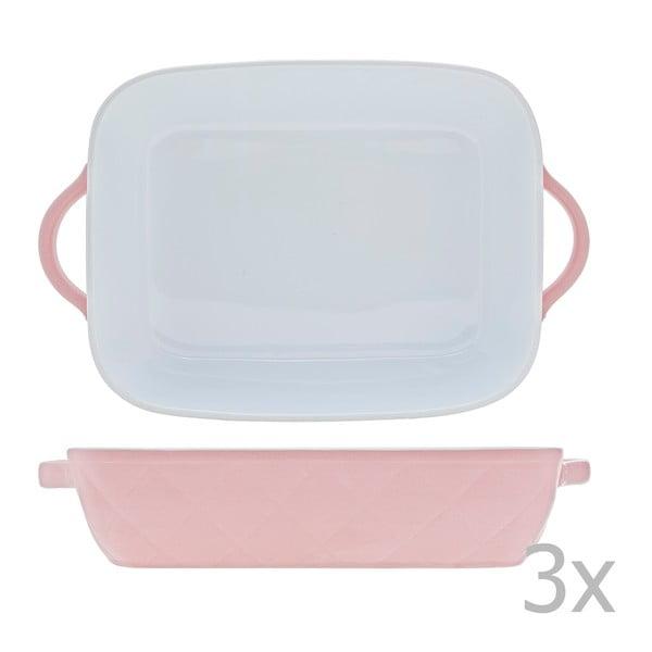 Sada 3 pekáčků Diamond 30x19 cm, různé barvy - růžová, modrá, béžová