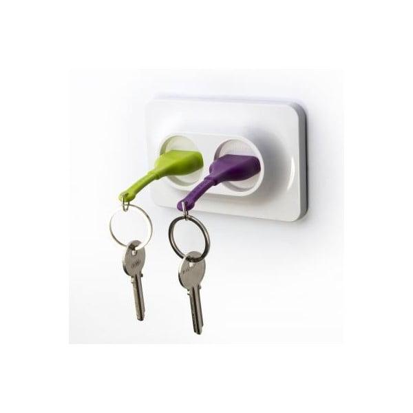 Nástěnný držák s klíčenkami QUALY Double Unplug, zelená-fialová
