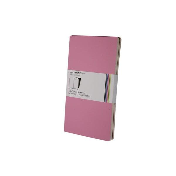 Sada 2 notesů Moleskine Pink, nelinkované 13x21 cm