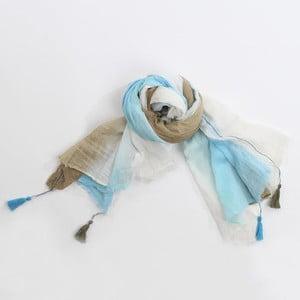 Šátek, světle modrá/hnědá