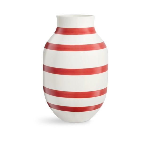 Vază din ceramică Kähler Design Omaggio, înălțime 31 cm, alb-roșu
