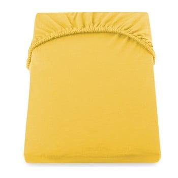 Cearșaf de pat DecoKing Amber Collection,160-180 x 200 cm, galben imagine
