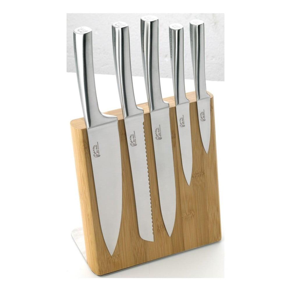 Sada 5 nožů z nerezové oceli s magnetickým bambusovým blokem Jean Dubost Meteor Bamboo