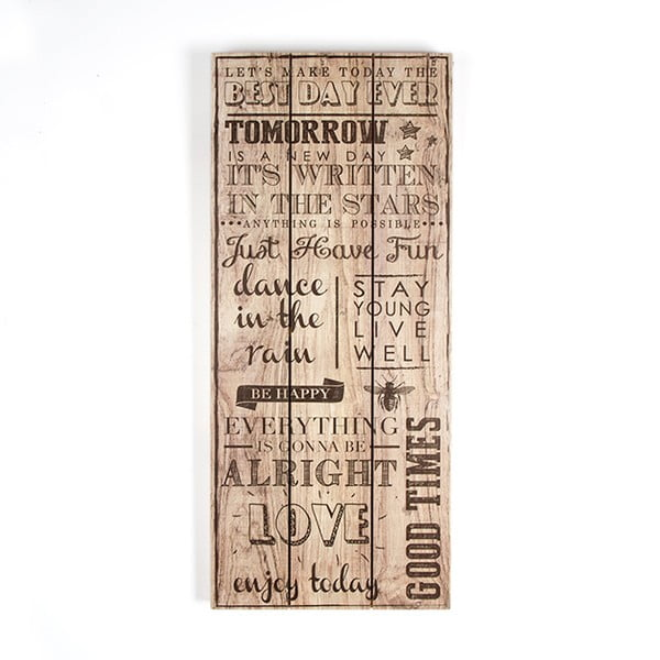 Tablou din lemn Graham & Brown Best Day Ever, 30 x 70 cm