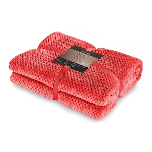 Červená deka z mikrovlákna DecoKing Henry, 220x240cm