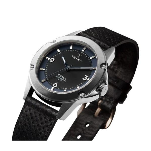Dámské hodinky s černým koženým řemínkem Triwa Raven Skala