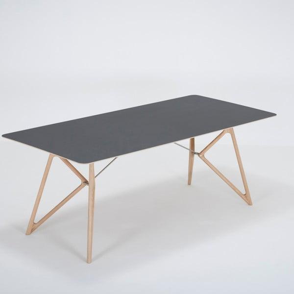 Masă din lemn masiv de stejar cu blat negru Gazzda Tink, 200 x 90 cm