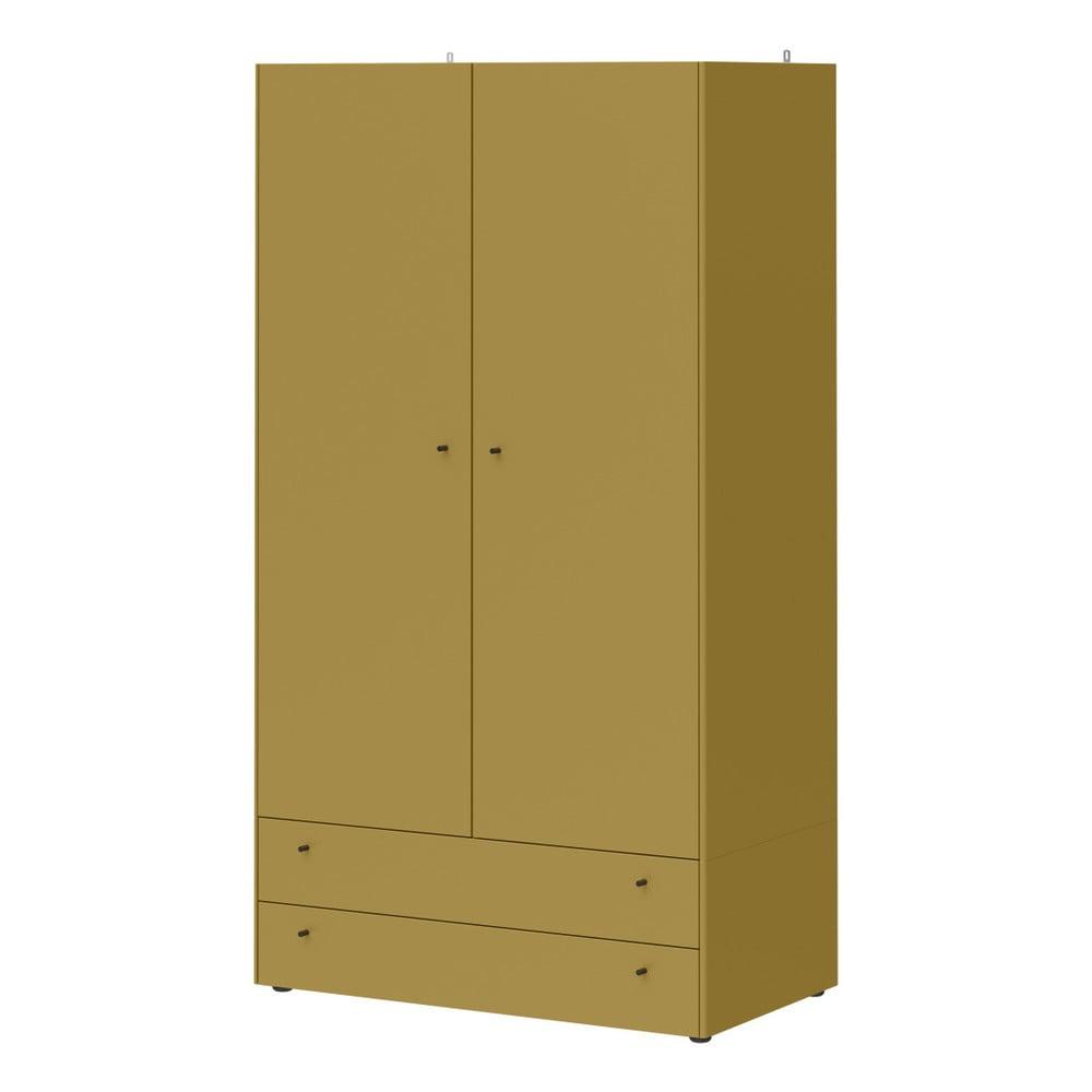 Zelenožlutá skříň se 2 zásuvkami Germania Monteo, výška196cm