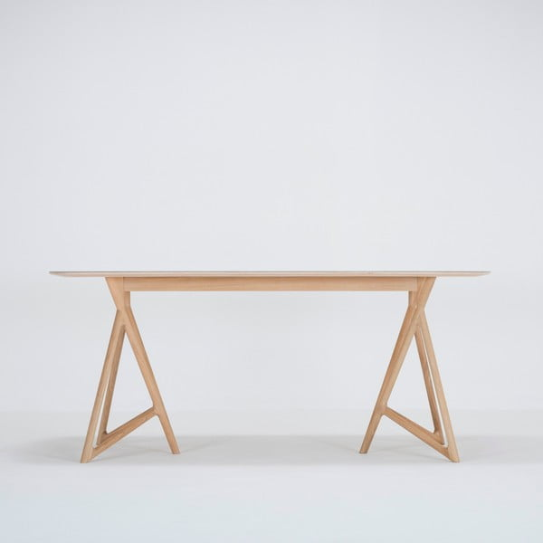 Jídelní stůl z masivního dubového dřeva s tmavě modrou deskou Gazzda Koza, 180x90cm