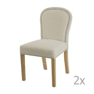 Sada 2 krémových jídelních židlí s přírodními nohami Artelore Lauren