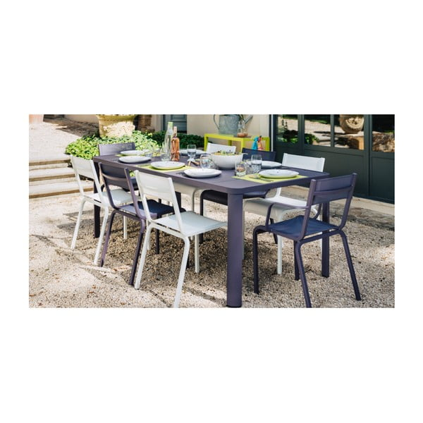 Sada 2 bílých kovových zahradních židlí Fermob Oléron