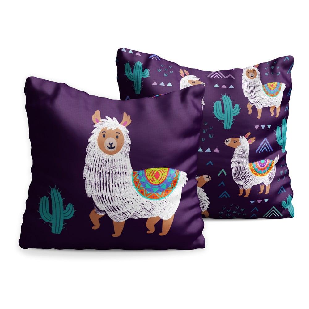 Sada 2 dětských polštářů OYO Kids Llama Adventures, 40 x 40 cm
