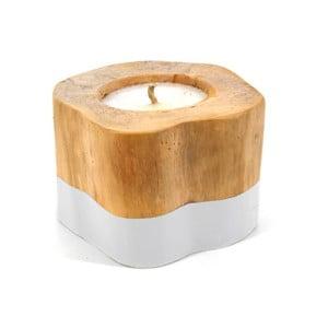 Středně velká svíčka z teakového dřeva s bílým detailem Moycor Masella