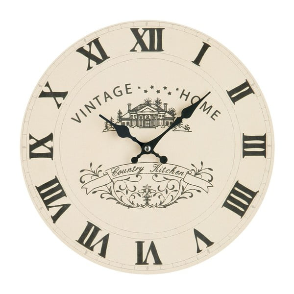 Krémové nástěnné hodiny Premier Housewares Vintage Home, 29 cm