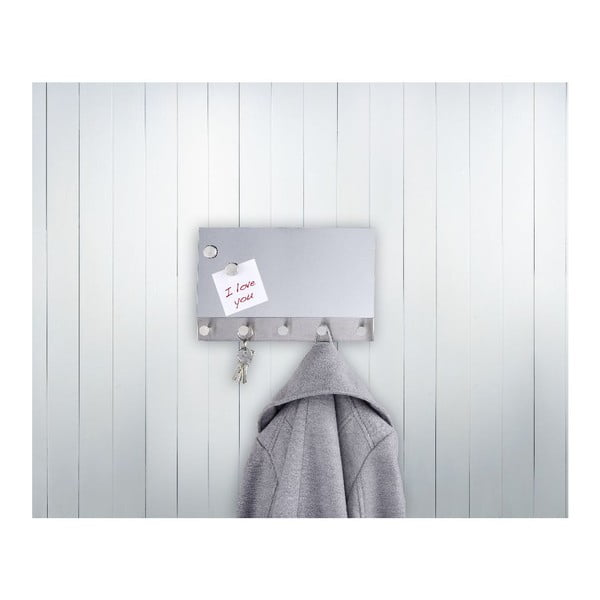 Magnetický věšák na kabáty s nástěnkou Wenko Mirror, 30 x 19 cm