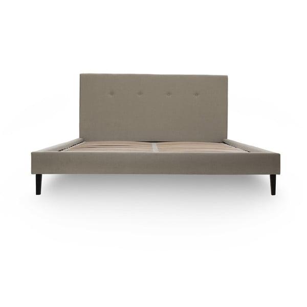 Tmavě béžová postel s černými nohami Vivonita Kent,140x200cm