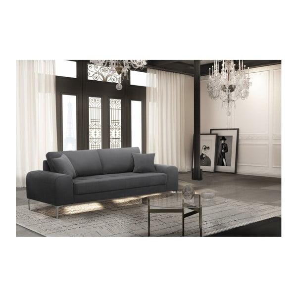 Set canapea gri închis cu 3 locuri, 4 scaune gri, o saltea 160 x 200 cm Home Essentials