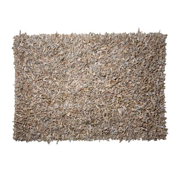 Kožený koberec Shaggy 140x200 cm, béžový