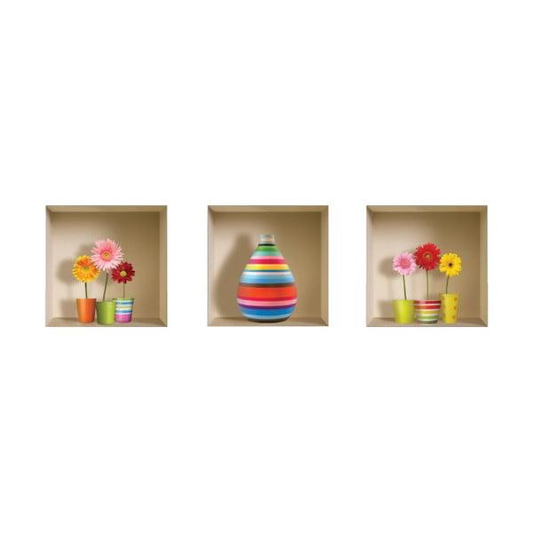 3D samolepky na zeď Nisha Flower Kids, 3 ks