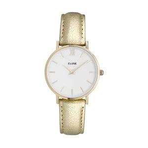 Dámské hodinky s metalicky zlatým řemínkem Cluse Minuit Gold