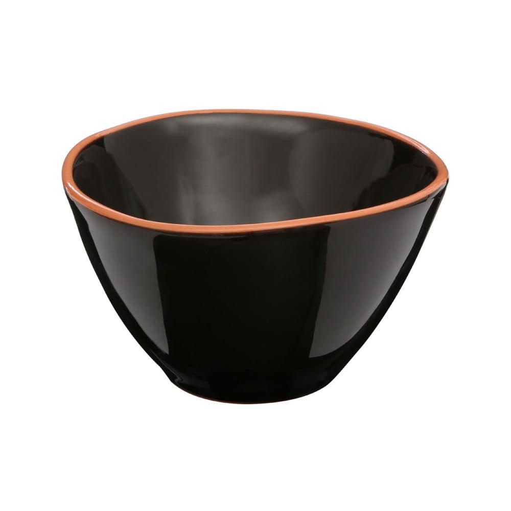 Černá miska na cereálie z glazované terakoty Premier Housewares Calisto, ⌀ 16 cm