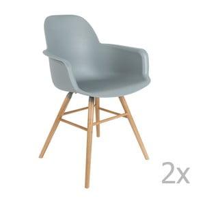 Set 2 scaune cu cotieră Zuiver Albert Kuip, gri deschis