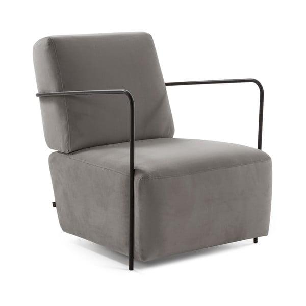 Szary fotel z obiciem podobnym do aksamitu La Forma Gamer
