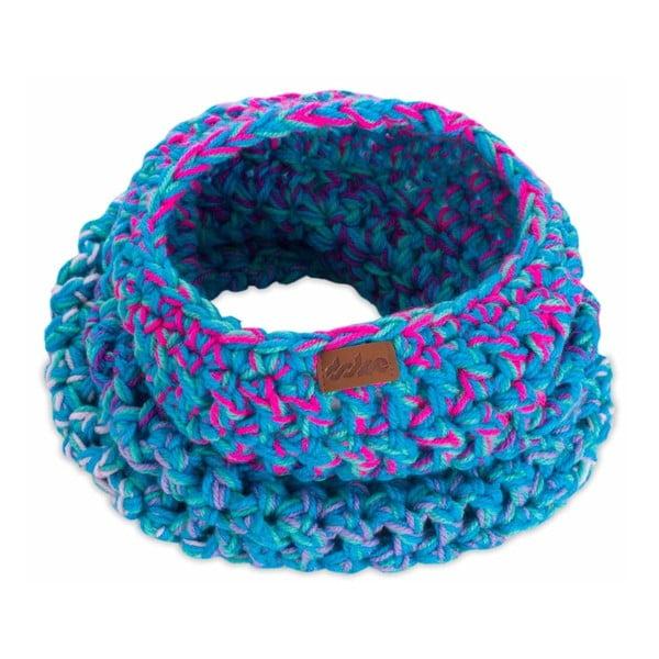 Modrý ručne háčkovaný kruhový šál DOKE Twister