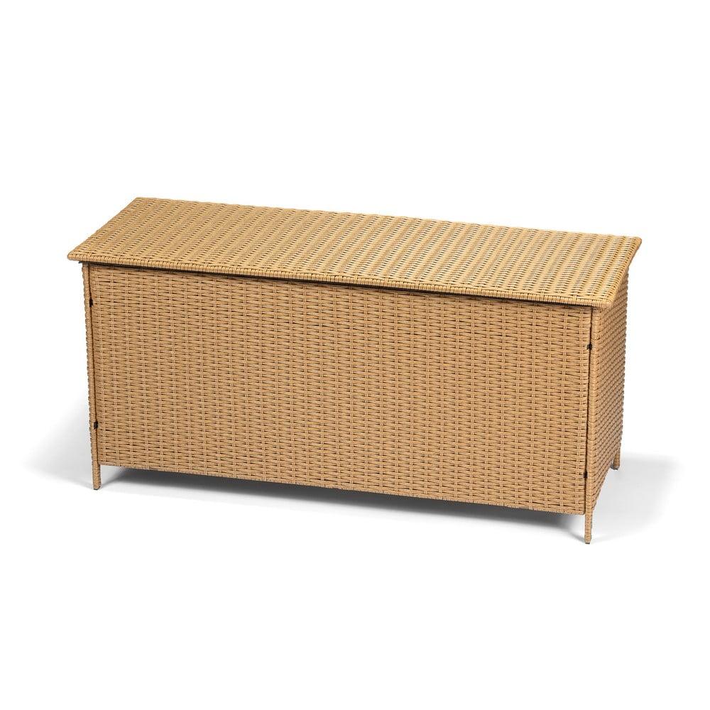Zahradní ratanový box s úložným prostorem v hnědé barvě Timpana Space, 130 x 61 cm