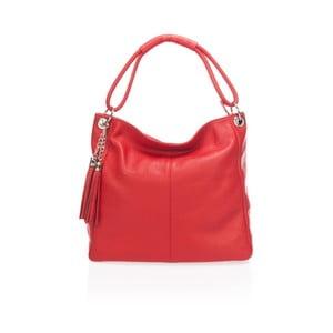 Červená kožená kabelka Lisa Minardi Herta