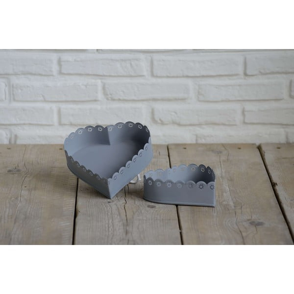 Sada 2 misek ve tvaru srdce Grigio