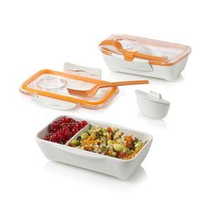 Cutie pentru gustare Bento, alb-portocaliu