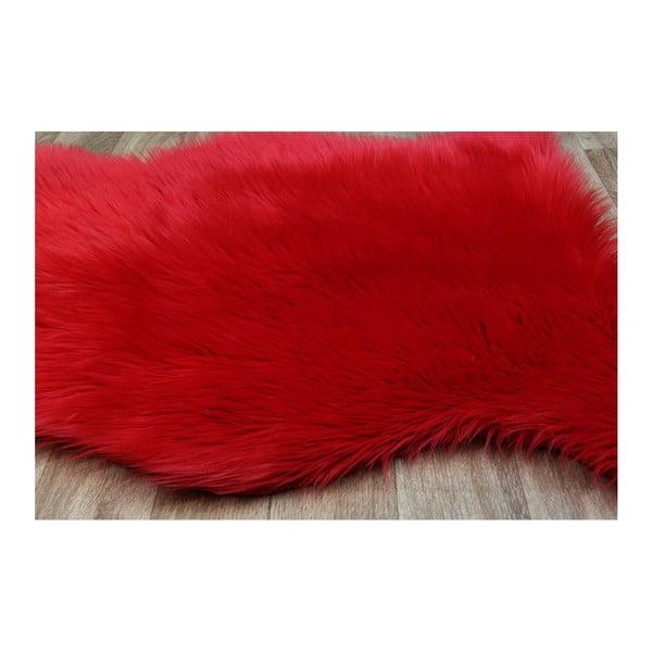 Červený koberec z umělé kožešiny Eco Rugs Tekli, 70x100cm