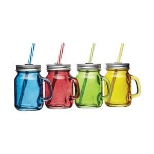 Sada 4 barevných skleniček s víčkem a brčkem Kitchen Craft Bar, 115ml