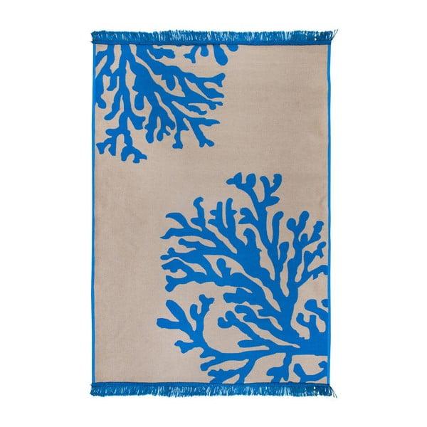 Béžovo-modrý oboustranný koberec Coral Mundo, 80 x 150 cm