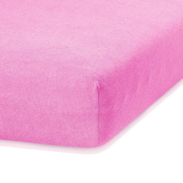 Ružová elastická plachta s vysokým podielom bavlny AmeliaHome Ruby, 200 x 160-180 cm
