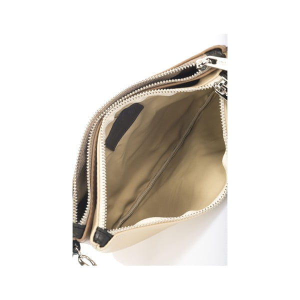 Kožená kabelka Krole Kody se dvěma kapsičkami, béžová