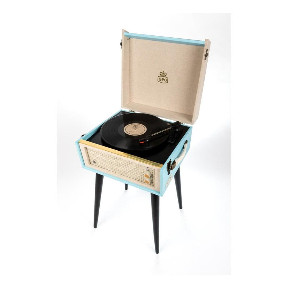 Světle modrý gramofon s rádiem na nohách GPO Bermuda Blue