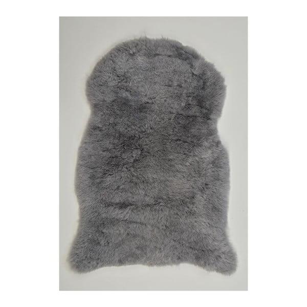 Světle šedá ovčí kožešina s krátkým chlupem, 90x60cm