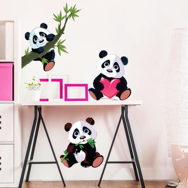 Sada 3 nástěnných dětských samolepek Ambiance Panda