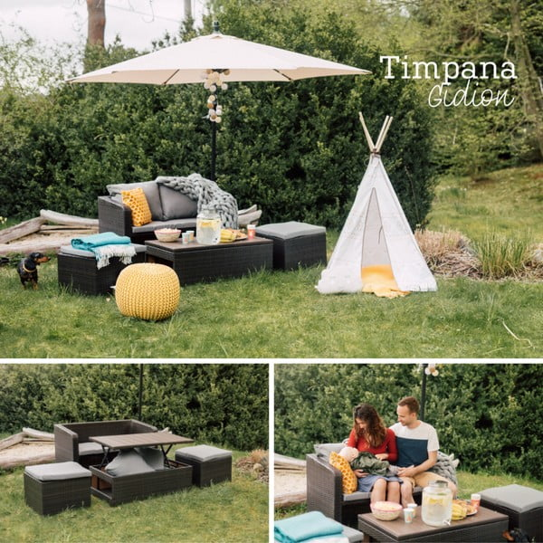 Set mobilier grădină din ratan artificial Timpana Gidion