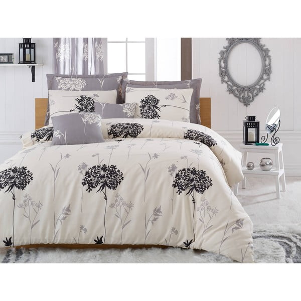 Lenjerie de pat cu cearșaf Efil Beige Grey, 200x220cm, gri - bej