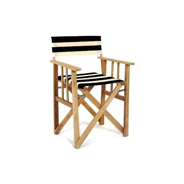 Skládací židle Director, pruhovaná, černobílá
